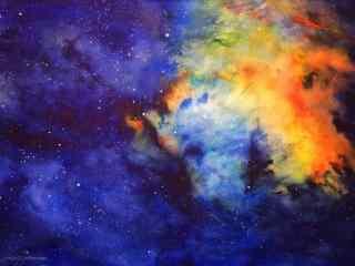 水彩下的星空桌面