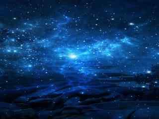 浩渺的蓝色星空高