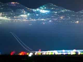 夜晚的天空之路创意摄影桌面壁纸