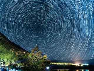 泸沽湖星空之星轨