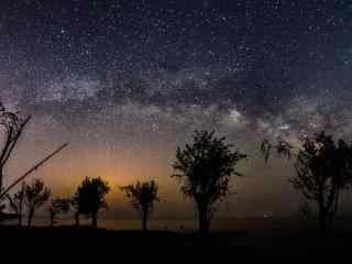 巢湖星空之美丽的银河风景壁纸