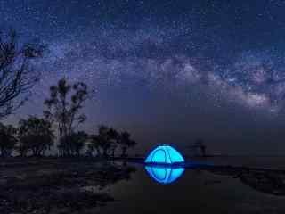美丽的巢湖之上星空壁纸