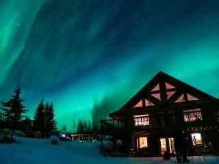 阿拉斯加超美极光星空高清图片桌面壁纸