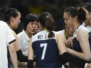 2016里约奥运中国女排教练比赛场上开会桌面壁纸