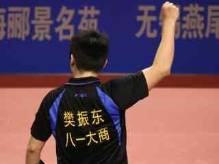 中国乒乓球队员樊振东振臂一挥背影壁纸