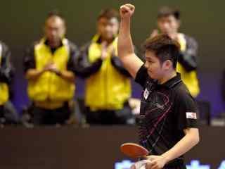 乒乓球队员樊振东振臂一挥壁纸