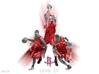 NBA火箭队三大传奇高清壁纸