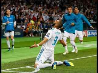 皇马2018欧冠决赛本泽马进球庆祝图片