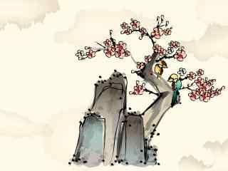 矢量水墨画植物花卉高清壁纸
