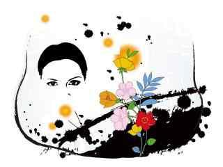 创意矢量女人似花高清壁纸