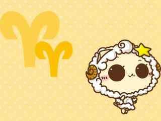 暖黄色背景可爱小羊白羊座星座壁纸