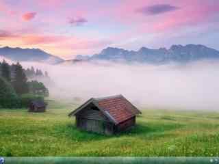 草地小木屋风景wi