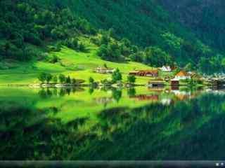 绿色清新小屋美景