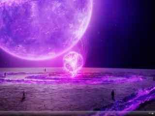 双紫星球唯美win7桌面主题