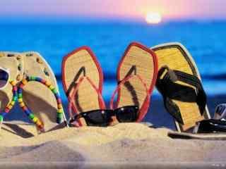 创意沙滩拖鞋win7