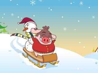 可爱小猪与雪人滑