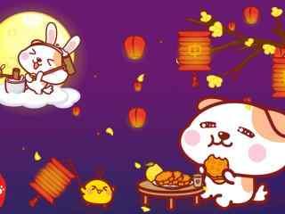 小狗赏月吃月饼wi