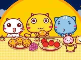 三只小猫吃月饼wi