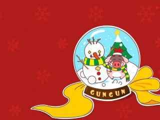 小猪滚滚与雪人的