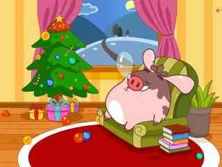 圣诞夜小猪睡着了